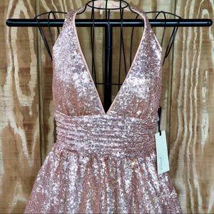 F21 Halter Rose Gold Sequin Dress